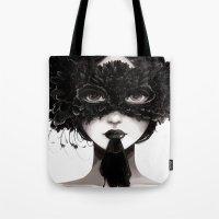 la Tote Bags featuring La veuve affamee by Ludovic Jacqz
