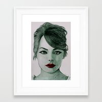 emma stone Framed Art Prints featuring Emma Stone  by Kristy Holding