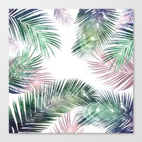 Canvas Prints featuring palm leaves tropical by rodrigomffonseca