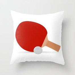Ping-Pong Racket & Ball Throw Pillow