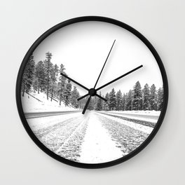 Snow Road // Snowy Winter Wonderland Black and White Landscape Photography Ski Poster Wall Clock