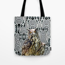 OWL FAMILY ON GREY-BLACK ABSTRACT PATTERN Tote Bag