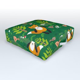 Fox and birds in the forest Outdoor Floor Cushion