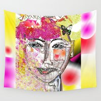 women Wall Tapestries featuring Blossoming women by sladja