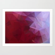 POPPY RED AND LILAC LOWPOLY Art Print