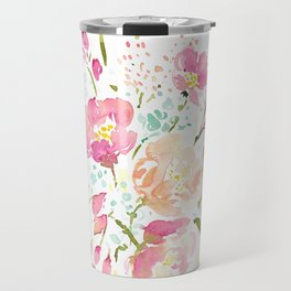 Flowers in Pink and Coral Travel Mug