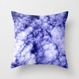 Clouds in a dark blue sky Throw Pillow