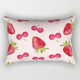 Strawberries Cherries Fiesta Pattern Rectangular Pillow