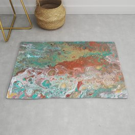 Copper Turquoise Dirty Pour Rug