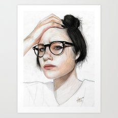 That weird girl with glasses Art Print