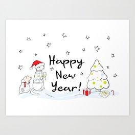 Happy New Year 2019! Oink! Oink! Art Print