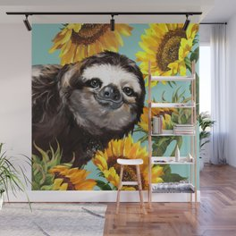 Sloth with Sunflowers Wall Mural