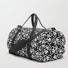 Black and White Bikes Pattern Duffle Bag