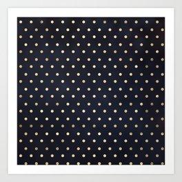 Navy Gold Polka Dots Pattern Art Print