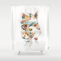 alpaca Shower Curtains featuring + Watercolor Alpaca + by BANBAN