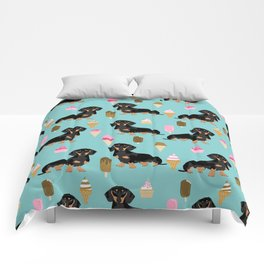 dachshund ice cream black and tan doxie dog breed cute pattern gifts Comforters