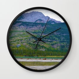Bull Elk with his Lady Friends on the Athabasca River in Jasper National Park, Canada Wall Clock