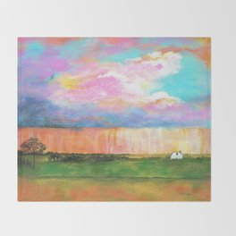 April Showers, Abstract Landscape Throw Blanket