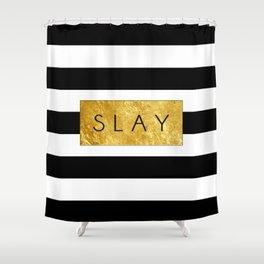 Slay - Stripes & Gold Metallic Shower Curtain