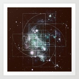 Galaxy Sacred Geometry: Golden Mean dark Art Print