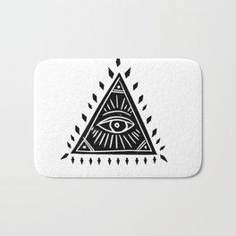 Linocut Pyramid eye black and white symbology Bath Mat