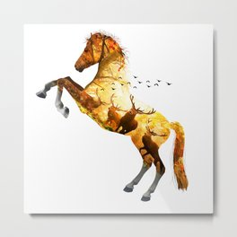 Deer nature Horse Metal Print