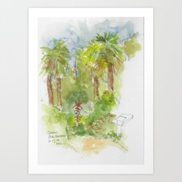 Old Glory in the Park watercolor Art Print