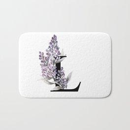 Letter 'L' Lilac Flower Typography Bath Mat