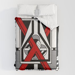 Red X  - Abstract Geometric Non-Figurative Art Comforters