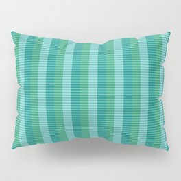 Tanager Turquoise, Teal Blue and Kelly Green Repeat Striped Pattern Pillow Sham