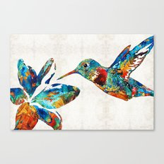 Colorful Hummingbird Art by Sharon Cummings Canvas Print