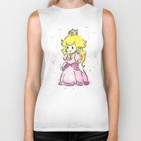 princess peach Biker Tanks featuring Princess Peach by Olechka