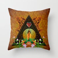 surfboard Throw Pillows featuring Surfboard with flowers  by nicky2342