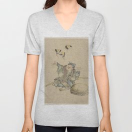 Japanese Art Print - Hokusai - Man with Fairies Dancing Above his Head (1830s) Unisex V-Neck