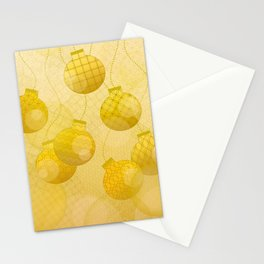 Gold Christmas Ornaments Stationery Cards
