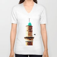 israel V-neck T-shirts featuring Al-Bahr Mosque, Jaffa, Israel by Philippe Gerber