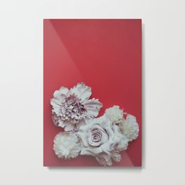 Pale Flowers on red Metal Print