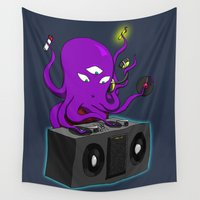 dj Wall Tapestries featuring DJ Octopus by mystmoon