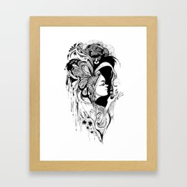 Cat Ladybug Hat Lady Illustration Framed Art Print