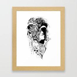 Cat Ladybug Hat Lady Illustration Framed Art Print