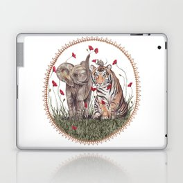 Tiger, Baby Elephant, and Mouse Playing in Poppies Laptop & iPad Skin