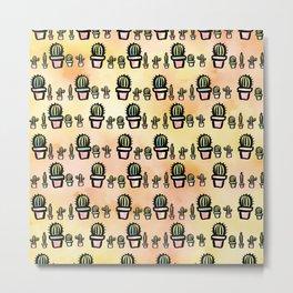 Watercolor Cactus Pattern Metal Print