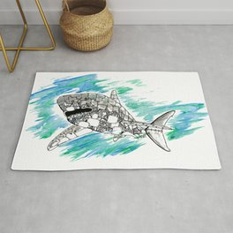 Steampunk Robot Shark Rug