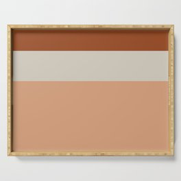 Minimalist Color Block Triple Stripe in Apricot, Rust Clay, and Putty Serving Tray