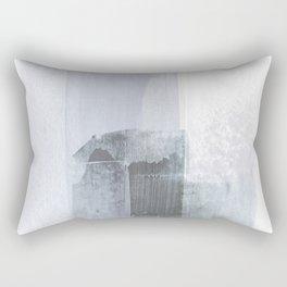 Blue Grey Minimalist Abstract Painting Rectangular Pillow