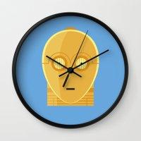 c3po Wall Clocks featuring Star Wars Minimalism - C3PO by Casa del Kables