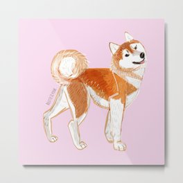 Japanese Dog Breeds: Akita Inu Metal Print