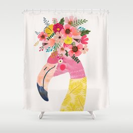 Pink flamingo with flowers on head Shower Curtain