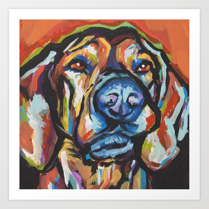 Fun Plott Hound Dog Portrait bright colorful Pop Art Kunstdrucke