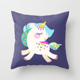 Cute unicorn with colorful mane and tail Throw Pillow